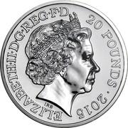 UK 20 Pounds Sir Winston Churchill 2015 KM# 1354 ELIZABETH II D G REG F D 20 POUNDS 2015 IRB coin obverse