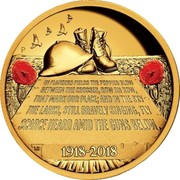 Australia 200 Dollars In Flanders Fields 2018 P Proof IN FLANDERS FIELDS THE POPPIES GLOW BETWEEN THE CROSSES, ROW ON ROW, THAT MARK OUR PLACE; AND IN THE SKY THE LARKS, STILL BRAVELY SINGING, FLY SCARCE HEARD AMID THE GUNS BELOW. 1918-2018 P LB coin reverse