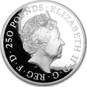 UK 250 Pounds Britannia (20th Anniversary) 2017 ELIZABETH II D G REG F D 250 POUNDS J.C coin obverse