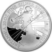 UK 250 Pounds Britannia (20th Anniversary) 2017 BRITANNIA 20 OZ FINE SILVER 999 2017 LWT coin reverse