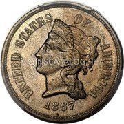USA 5 Cents (Half Dime, Half Disme) Pattern 1867 24-36 known  UNITED STATES OF AMERICA 1867 coin obverse