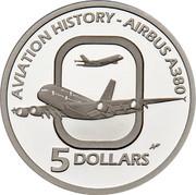Australia 5 Dollars Aviation History Airbus A380 2008 Proof KM# 1073 AVIATION HISTORY - AIRBUS A380 5 DOLLARS coin reverse