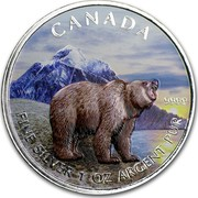 Canada 5 Dollars Wildlife Series - Grizzly (Colorized) 2011 UNC CANADA WW 9999 FINE SILVER 1 OZ ARGENT PUR coin reverse
