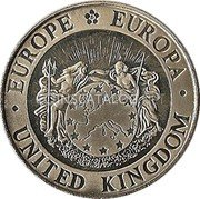 UK 5 ECU Three Graces 1992 UNC ·EUROPE EUROPA· UNITED KINGDOM coin obverse