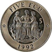 UK 5 ECU Three Graces 1992 UNC FIVE ECU 5 1992 coin reverse
