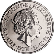 UK 5 Pounds House of Windsor Centenary Clad 2017 ELIZABETH II D G REG FID DEF 5 POUNDS J.C coin obverse
