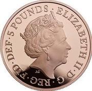 UK 5 Pounds Prince George 5th Birthday 2018 Proof ELIZABETH II∙D∙G∙REG∙FID∙DEF∙5 POUNDS∙ J.C coin obverse