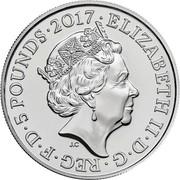 UK 5 Pounds Remembrance Day 2017  ELIZABETH II∙D∙G∙REG∙F∙D∙5 POUNDS ∙2017∙ J.C coin obverse