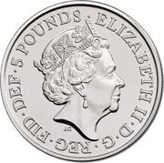 UK 5 Pounds Sapphire Jubilee 2017 BU ELIZABETH II∙D∙G∙REG∙FID∙DEF∙5 POUNDS∙ J.C coin obverse