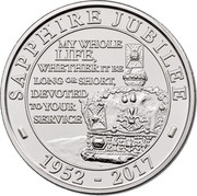 UK 5 Pounds Sapphire Jubilee 2017 BU SAPPHIRE JUBILEE MY WHOLE LIFE, WHETHER IT BE LONG OR SHORT, DEVOTED TO YOUR SERVICE - 1952 - 2017 - coin reverse