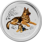 Australia 50 Cents Lunar Dog (Colorized) 2018 YEAR OF THE DOG coin reverse