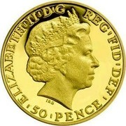 UK 50 Pence Britannia 2014 KM# 1310 RED ' FID ' DEF ' 50 ' PENCE ' ELIZABETH ' II ' D ' G IRB coin obverse