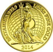 UK 50 Pence Britannia 2014 KM# 1310 BRITANNIA 999.9 1/40 OZ FINE GOLD 2014 J.C coin reverse