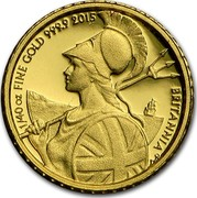 UK 50 Pence Britannia (Nautical Themed) 2015 1/40 OZ FINE GOLD 999.9 2015 BRITANNIA coin reverse