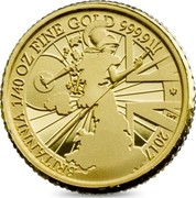 UK 50 Pence Modern Britannia 2017 Trident Proof BRITANNIA 1/40 OZ FINE GOLD 999.9 2017 LWT coin reverse