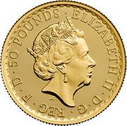 UK 50 Pounds Britannia 2017 Trident Proof 50 POUNDS ELIZABETH II D G REG F D J.C coin obverse