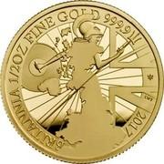 UK 50 Pounds Britannia 2017 Trident Proof BRITANNIA 1/2OZ FINE GOLD 999.9 2017 EWT coin reverse