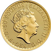 UK 50 Pounds Britannia 2018 BU ∙ 50 POUNDS ∙ ELIZABETH II ∙ D ∙ G ∙ REG ∙ F ∙ D J.C coin obverse