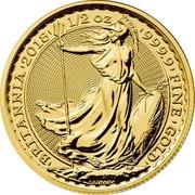 UK 50 Pounds Britannia 2018 BU 'BRITANNIA'2018' 1/2OZ '999.9'FINE'GOLD' NATHAN coin reverse