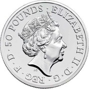 UK 50 Pounds (William Shakespeare) 50 POUNDS ELIZABETH II D G REG F D J.C coin obverse