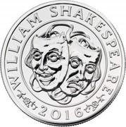 UK 50 Pounds (William Shakespeare) WILLIAM SHAKESPEARE 2016 JB coin reverse
