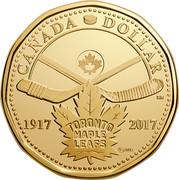 Canada Dollar 100th Anniversary of The Toronto Maple Leafs 2017 UNC CANADA DOLLAR 1917 TORONTO MAPLE LEAFS 2-17 ®/MD SR coin reverse