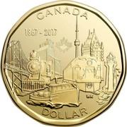 Canada Dollar Connecting a Nation 2017 BU CANADA 1867-2017 DOLLAR WK coin reverse