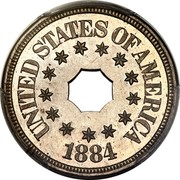 USA Five Cents (Pattern) KM# Pn1814 UNITED STATES OF AMERICA 1884 coin obverse