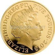 UK Five Pounds 50th Anniversary of the death of Sir Winston Churchill Gold plated Silver 2015 Proof ELIZABETH II D G REG F D FIVE POUNDS 2015 IRB coin obverse