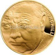 UK Five Pounds 50th Anniversary of the death of Sir Winston Churchill Gold plated Silver 2015 Proof CHURCHILL coin reverse