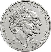 UK Five Pounds Platinum Wedding Anniversary 2017 ELIZABETH II D G REG F D ∙PHILIP PRINCEPS ∙ FIVE POUNDS EM coin obverse