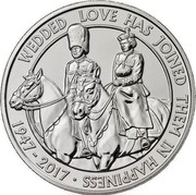 UK Five Pounds Platinum Wedding Anniversary 2017 WEDDED LOVE HAS JOINED THEM IN HAPPINESS 1947 - 2017 JB coin reverse