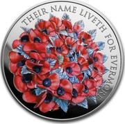 UK Five Pounds Their Name Liveth for Evermore Piedfort 2016 THEIR NAME LIVETH FOR EVERMORE coin reverse