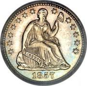 USA Half Dime Seated Liberty 1857 KM# A62.2 LIBERTY coin obverse