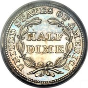 USA Half Dime Seated Liberty 1857 KM# A62.2 UNITED STATES OF AMERICA HALF DIME coin reverse