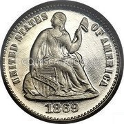 USA Half Dime Seated Liberty Half Dime 1869 KM# 91 UNITED STATES OF AMERICA LIBERTY coin obverse