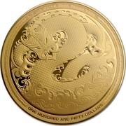 New Zealand Hundred and Fifty Dollars Taniwha 2017 Proof KOTAHI RAU E RIMA TEKAU TARA ONE HUNDRED AND FIFTY DOLLARS coin reverse