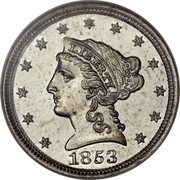 USA One Cent Pattern 1853 Proof LIBERTY 1853 coin obverse