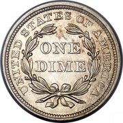 USA One Dime Seated Liberty 1840 KM# 63.1 UNITED STATES OF AMERICA ONE DIME coin reverse