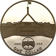 Australia One Dollar New Parliament House 1998 Proof KM# 412 1988 1998 ONE DOLLAR 5 DOLLARS coin reverse