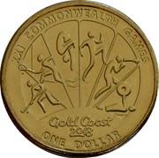 Australia One Dollar XXI Commonwealth Games Diver 2018 XXI COMMONWEALTH GAMES GOLD COAST 2018 ONE DOLLAR coin reverse