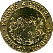 UK One Tenth ECU The Mayflower 1992 UNC X# 11 ∙EUROPE EUROPA∙ UNITED KINGDOM coin obverse