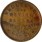 New Zealand Penny Wholesale and Retail Bakers Confectioners and Grocers ND WHOLESALE AND RETAIL BAKERS CONFECTIONERS AND GROCER coin obverse