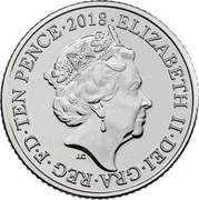 UK Ten Pence (K - King Arthur) TEN PENCE 2018 ELIZABETH II DEI GRA REG F D J.C coin obverse