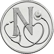 UK Ten Pence (N - National Health Service) N coin reverse