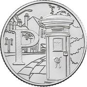 UK Ten Pence (P - Postbox) P coin reverse