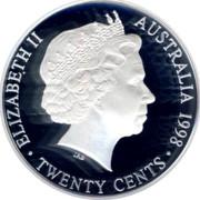Australia Twenty Cents Masterpiece in 1910 Florin 1998 Proof ELIZABETH AUSTRALIA TWENTY CENTS 1998 IRB coin obverse