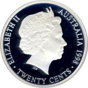 Australia Twenty Cents Masterpiece in 1938 Florin 1998 only in sets Proof ELIZABETH II AUSTRALIA 1998 IRB TWENTY CENTS coin obverse