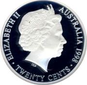 Australia Twenty Cents Masterpiece in 1951 Federation Florin 1998 ELIZABETH II AUSTRALIA 1998 TWENTY CENTS IRB coin obverse