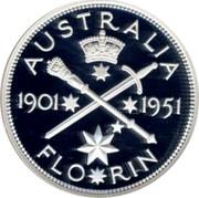 Australia Twenty Cents Masterpiece in 1951 Federation Florin 1998 AUSTRALIA 1901 1951 FLO RIN coin reverse